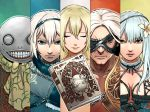 blonde_hair book breasts closed_mouth commentary_request dress emil_(nier) flower grimoire_weiss hasegawa_(morebeer) highres kaine_(nier) looking_at_viewer multiple_boys multiple_girls nier nier_(old) nier_(series) nier_(young) nude scarf short_hair silver_hair white_hair yonah