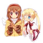 2girls backpack bag blonde_hair blue_eyes brown_hair chinese_commentary coat commentary_request company_connection cropped_torso dress eyepatch food kanon key_(company) lliissaawwuu2 long_hair medical_eyepatch mittens multiple_girls nakatsu_shizuru open_mouth red_eyes rewrite ribbon short_hair simple_background taiyaki tsukimiya_ayu twintails wagashi white_background winged_backpack