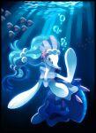 bubble creature creatures_(company) dark eyelashes game_freak gen_3_pokemon gen_7_pokemon highres light luvdisc nintendo no_humans pokemon pokemon_(creature) primarina samantha_j_stroh underwater watermark web_address