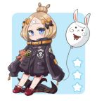 0yui 1girl abigail_williams_(fate/grand_order) bangs black_bow black_jacket blonde_hair blue_background blue_eyes blush bow chibi closed_mouth commentary_request crossed_bandaids fate/grand_order fate_(series) fou_(fate/grand_order) full_body hair_bow hair_bun heroic_spirit_traveling_outfit highres holding_balloon jacket long_hair long_sleeves looking_at_viewer object_hug orange_bow parted_bangs polka_dot polka_dot_bow red_bow red_footwear shoes sleeves_past_fingers sleeves_past_wrists solo star stuffed_animal stuffed_toy teddy_bear tentacle two-tone_background white_background