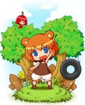 2girls :d :o animal_ears arm_up bangs bare_arms bare_shoulders bear_ears bear_girl bear_tail blue_eyes blue_sky blush brown_hair brown_shirt chibi clouds cloudy_sky commentary_request day dress eyebrows_visible_through_hair fence flower grass habanero-tan hair_between_eyes head_tilt in_tree kuma-tan kumatanchi multiple_girls naga_u open_mouth original outdoors parted_lips puffy_shorts red_dress red_eyes redhead shirt short_shorts shorts sky sleeveless sleeveless_dress sleeveless_shirt smile standing tail tire_swing tree white_shorts yellow_flower
