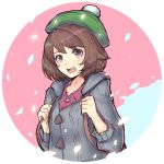 1girl :d backpack bag bangs blue_background blush bobblehat brown_hair cardigan cat_with_a_brush collared_shirt creatures_(company) eyebrows_visible_through_hair female_protagonist_(pokemon_swsh) game_freak green_hat grey_cardigan hat long_sleeves looking_at_viewer nintendo open_mouth pink_background pink_shirt pokemon pokemon_(game) pokemon_swsh round_teeth shirt short_hair smile solo teeth two-tone_background upper_body upper_teeth violet_eyes