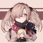 bangs black_scarf blank_eyes blonde_hair blush blush_stickers brown_background brown_hair closed_mouth commentary cross cross_necklace doll fur-trimmed_jacket fur_trim g3_(girls_frontline) girls_frontline glasses gloves hair_ornament hair_over_one_eye hk21_(girls_frontline) holding jacket jewelry long_hair long_sleeves necklace pollity scarf simple_background sleeves_past_wrists twintails violet_eyes