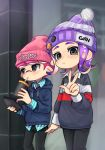 1boy 1girl badge beanie black_pants blue_hoodie button_badge cellphone cup drawstring drinking_straw grey_eyes hand_up hat highres holding holding_cup holding_phone hood hood_down hoodie inkling long_hair long_sleeves octarian octoling pants phone pink_hat pixiv13691592 pointy_ears pom_pom_(clothes) purple_hair purple_hat short_hair slit_pupils smartphone smartphone_case splatoon splatoon_(series) splatoon_2 striped striped_hat suction_cups tentacle_hair