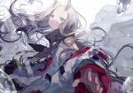 1girl blue_eyes blue_scarf droplets foreshortening hatutaro horns long_hair long_sleeves looking_at_viewer off_shoulder outstretched_hand pixiv_fantasia_last_saga scarf solo upper_body very_long_hair white_background white_hair yellow_eyes