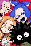 1girl 3boys black_eyes blue_eyes blue_hair eyes_visible_through_hair fangs group_name ichiya_(splatoon) ikkan_(splatoon) kameno_(nameko_ziru_n) long_hair looking_at_viewer multiple_boys murasaki_(splatoon) namida_(splatoon) open_mouth orange_eyes orange_hair pointy_ears sea_urchin smile splatoon splatoon_(series) splatoon_1 tentacle_hair