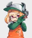 1girl baseball_cap domino_mask elbow_gloves gloves green_gloves hat inkling mask open_mouth orange_hair orange_overalls overalls paint pink_eyes pixiv13691592 pointy_ears rubber_gloves salmon_run short_hair simple_background splatoon splatoon_(series) splatoon_2 suction_cups sweat tentacle_hair upper_body v-shaped_eyebrows white_background