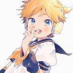 1boy :d arm_at_side blonde_hair blue_eyes blush detached_sleeves fingernails hand_to_own_mouth headset kagamine_len kouhara_yuyu looking_at_viewer male_focus nail_polish open_mouth puffy_short_sleeves puffy_sleeves ribbon sailor_collar shirt short_hair short_sleeves simple_background smile upper_body vocaloid white_background white_shirt yellow_nails yellow_neckwear yellow_ribbon