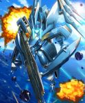 absurdres blue_sky clouds explosion flying gun highres holding holding_gun holding_shield holding_weapon mecha moyashi_(karamisouma) ocean robot shield sky solo soukyuu_no_fafner weapon