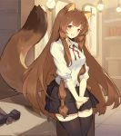 1girl absurdres animal_ears blush brown_hair cubies_(tiger_205) highres long_hair looking_at_viewer open_mouth raccoon_ears raccoon_girl raccoon_tail raphtalia red_eyes skirt smile solo tail tate_no_yuusha_no_nariagari thigh-highs very_long_hair