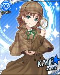 blue_eyes blush brown_hair cap character_name detective idolmaster idolmaster_cinderella_girls jacket kate_(idolmaster) magnifying_glass short_hair smile stars