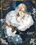1girl alternate_costume alternate_hairstyle anmi backless_dress backless_outfit bangs bare_shoulders blue_eyes blush bouquet breasts bridal_veil character_name cleavage closed_mouth collarbone dress earrings eyebrows_visible_through_hair flower girls_frontline gloves gun hair_between_eyes half_gloves heliotrope_(flower) holding holding_bouquet jewelry leaf light_brown_hair long_dress long_hair looking_at_viewer medium_breasts off-shoulder_dress off_shoulder official_art rose seiza sidelocks silver sitting smile snowflake_print solo submachine_gun suomi_kp/-31 suomi_kp31_(girls_frontline) tiara veil weapon wedding_dress white_dress white_flower white_gloves white_rose