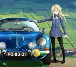 1girl artist_name black_hair blonde_hair blurry car depth_of_field field glasses ground_vehicle highres kokott long_hair motor_vehicle pantyhose perrine_h_clostermann renault_alpine_a110 smile solo strike_witches twitter_username world_witches_series yellow_eyes