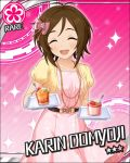 blush brown_hair character_name closed_eyes domyoji_karin dress idolmaster idolmaster_cinderella_girls short_hair smile stars