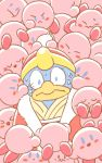 6+others animal animated animated_gif atsumete!_kirby bird coat hal_laboratory_inc. hoshi_no_kirby king_dedede kirby kirby_(series) kirby_mass_attack lowres nervious nintendo no_humans nokcha-matcha penguin pink_puff_ball poking red_coat sleeping smile surrounded sweat