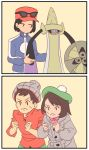 1girl 2boys :< aegislash bag bangs beanie black_hair brown_hair calme_(pokemon) clenched_hands comic creatures_(company) female_protagonist_(pokemon_swsh) game_freak gen_6_pokemon green_hat grey_hat hat highres long_sleeves male_protagonist_(pokemon_swsh) multiple_boys nintendo pokemon pokemon_(creature) pokemon_(game) pokemon_swsh pokemon_xy red_shirt shield shirt short_hair silent_comic simple_background sweatdrop sword tam_o'_shanter toffmikin wavy_mouth weapon
