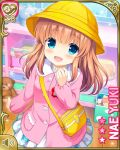1girl bag blue_eyes blush brown_hair character_name girlfriend_(kari) hand_to_own_mouth hat kindergarten_uniform long_hair official_art open_mouth pink_shirt print_skirt qp:flapper school_hat shirt skirt smile solo stuffed_animal stuffed_toy teddy_bear white_skirt yellow_hat yuuki_nae