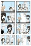4koma 6+girls blush breasts comic door double_bun elbow_gloves empty_plate flat_chest gloves hair_ornament hair_over_eyes hairband highres kantai_collection large_breasts long_hair long_sleeves mocchi_(mocchichani) multiple_girls ponytail ribbon sailor_collar short_hair short_sleeves sleeveless sweatdrop twintails