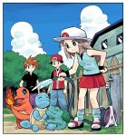 1girl 2boys baseball_cap black_hair black_shirt blue_(pokemon) blue_legwear blue_pants blue_sky border breasts bright_pupils building bulbasaur charmander closed_mouth clouds creatures_(company) day fence fire game_freak gen_1_pokemon grass hand_on_hip hat holding hose legs_apart long_hair loose_socks medium_breasts miniskirt multiple_boys nintendo ookido_green outdoors pants pokemon pokemon_(game) pokemon_frlg porkpie_hat purple_pants red_(pokemon) red_hat red_skirt shirt shoes short_sleeves skirt sky smile squirtle standing straight_hair tonmoh tree water white_border white_footwear white_hat white_pupils white_skirt wooden_fence wristband