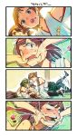 4girls 4koma ahoge bangs bare_shoulders black_hair blush boots bright_pupils brown_hair candy comic detached_sleeves double_bun feeding finger_in_mouth food for force_feeding glasses green_skirt hairband haruna_(kantai_collection) headgear hiei_(kantai_collection) highres japanese_clothes kantai_collection kirishima_(kantai_collection) kongou_(kantai_collection) long_hair long_sleeves lying miniskirt motion_lines multiple_girls nonco nontraditional_miko nose_blush on_back open_mouth orange_eyes pinned plaid plaid_skirt red_eyes ribbon-trimmed_sleeves ribbon_trim short_hair skirt sleeveless sweat teeth thigh-highs thigh_boots translation_request v-shaped_eyebrows violet_eyes white_pupils wide_sleeves yuri zettai_ryouiki