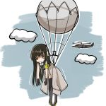 1girl aircraft armband balloon bandanna clothes_around_waist clouds cloudy_sky flying fulton_recovery girls_frontline gloves haguruma_(hagurumali) headphones headphones_around_neck helicopter jacket_around_waist m4a1_(girls_frontline) sky sweatdrop