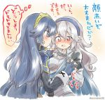 2girls armor blue_eyes blue_hair blush breasts cape eromame female_my_unit_(fire_emblem_if) fingerless_gloves fire_emblem fire_emblem:_kakusei fire_emblem_heroes fire_emblem_if gloves hair_between_eyes hairband hand_holding intelligent_systems long_hair lucina mamkute multiple_girls my_unit_(fire_emblem_if) nintendo open_mouth pointy_ears red_eyes simple_background super_smash_bros. super_smash_bros._ultimate tiara translation_request white_hair yuri