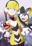 blonde_hair blue_eyes box_of_chocolates creatures_(company) emolga game_freak gen_5_pokemon gym_leader headphones kamitsure_(pokemon) nintendo pokemon pokemon_(game) pokemon_bw ribbon white_day