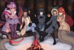 5girls absurdres anubis_(monster_girl_encyclopedia) artist_name black_footwear black_hair blush boots breasts breath campfire claws cleavage coat cold commentary commission crossed_legs crossover cup cyclops dark_skin ears_through_headwear english_commentary extra_eyes fang fang_out food forest fur fur_collar gazer_(monster_girl_encyclopedia) green_eyes green_hair hair_between_eyes hair_ornament hairclip highres hood hood_up hooded_jacket horns huge_filesize jabberwock_(monster_girl_encyclopedia) jacket jewelry knee_boots lamia leg_hug log long_hair long_sleeves looking_at_another looking_at_viewer looking_away marshmallow miia_(monster_musume) monster_girl monster_girl_encyclopedia monster_musume_no_iru_nichijou multiple_girls nature night one-eyed open_clothes open_coat orange_eyes outdoors ovosh147 pants parted_lips paws pointy_ears purple_hair red_eyes redhead scarf sitting slit_pupils snake_tail snow sweater tail tentacles tree tree_stump very_long_hair winter winter_clothes yellow_eyes yellow_sclera