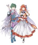 1boy 1girl alm_(fire_emblem) alternate_costume arrow belt box cape celica_(fire_emblem) dress fire_emblem fire_emblem_echoes:_mou_hitori_no_eiyuuou fire_emblem_heroes flower gloves green_eyes green_hair hair_flower hair_ornament hairband heart-shaped_box highres holding holding_arrow holding_box long_hair long_sleeves nintendo parted_lips red_eyes redhead short_hair simple_background sleeveless sleeveless_dress valentine white_background white_gloves zyuno0