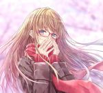 1girl bangs blonde_hair blue_eyes blurry blurry_background blush brown_jacket character_request commentary_request copyright_request covering_mouth crying crying_with_eyes_open eyebrows_visible_through_hair glasses hands_up jacket light_particles long_hair long_sleeves looking_at_viewer nabeshima_tetsuhiro red-framed_eyewear red_scarf scarf sidelocks solo tears upper_body