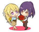 2girls :d bang_dream! bangs behind_back black_footwear blonde_hair blue_shirt bouquet brown_pants brown_skirt brown_suit brown_vest chibi collared_shirt commentary_request flower full_body hair_ribbon half_updo holding holding_bouquet holding_flower long_sleeves looking_at_another multiple_girls necktie open_mouth pants ponytail purple_hair red_eyes red_flower red_neckwear red_rose ribbon rose seta_kaoru shirasagi_chisato shirt sidelocks simple_background skirt smile standing tozaki_(r_sailing) vest violet_eyes white_background white_ribbon white_shirt yellow_flower yellow_rose yuri