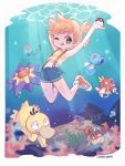 1girl :p air_bubble algae arm_behind_head arm_up blonde_hair blue_shorts border bubble commentary coral creatures_(company) crop_top freediving game_freak gen_1_pokemon green_eyes highres holding holding_poke_ball horsea kasumi_(pokemon) krabby light_rays magikarp midriff nintendo one_eye_closed poke_ball poke_ball_(generic) pokemon pokemon_(anime) pokemon_(classic_anime) pokemon_(creature) psyduck red_footwear sarah_dandh shellder shirt shoes short_hair short_shorts shorts side_ponytail signature sneakers starmie suspender_shorts suspenders swimming symbol_commentary tank_top tentacool tongue tongue_out underwater white_border yellow_shirt