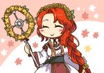 1girl artist_name bead_necklace beads braid closed_eyes closed_mouth fire_emblem fire_emblem:_souen_no_kiseki fire_emblem_heroes head_wreath holding holding_staff jewelry long_hair long_sleeves necklace nintendo redhead sksk7r smile solo staff tiamat_(fire_emblem) upper_body wide_sleeves