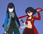 2girls absurdres adapted_costume bakuzan beltbra black_hair blue_background blue_coat blue_eyes breasts brown_gloves cleavage coat cosplay cravat dante_(devil_may_cry) dante_(devil_may_cry)_(cosplay) devil_may_cry devil_may_cry_3 facing_viewer fingerless_gloves gloves greenmarine hair_between_eyes hand_on_hilt height_difference high_collar highres holding holding_sword holding_weapon jacket junketsu katana kill_la_kill kiryuuin_satsuki lips long_coat long_hair looking_at_viewer matoi_ryuuko medium_breasts multicolored_hair multiple_girls navel open_clothes open_jacket outline over_shoulder pants red_coat scabbard scissor_blade sheath sheathed solo stomach streaked_hair sword sword_over_shoulder thick_eyebrows under_boob vergil vergil_(cosplay) weapon weapon_over_shoulder