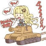 arm_ribbon bangs black_ribbon blonde_hair blue_dress blunt_bangs boots char_(sennen_sensou_aigis) chibi commentary_request dress english_text eyebrow_visible_through_hair frills furrowed_eyebrows gloves ground_vehicle hair_ornament hair_ribbon highres long_hair military military_vehicle motor_vehicle open_mouth pleated_skirt pointing_finger puffy_sleeves ribbon sennen_sensou_aigis simple_background skirt speech_bubble straddling tank tank_turret tongue tread_marks white_background white_legwear