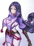arm_guards bangs black_gloves bodysuit breasts closed_mouth covered_navel curvy fate/grand_order fate_(series) fingerless_gloves from_above gloves large_breasts loincloth long_hair looking_at_viewer low-tied_long_hair minamoto_no_raikou_(fate/grand_order) parted_bangs purple_bodysuit purple_hair ribbed_sleeves rope sakanasoko smile tabard very_long_hair violet_eyes