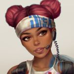 1girl apex_legends backpack bag blurry brown_eyes close-up commentary dark_skin double_bun eyeshadow face facing_viewer freckles headband headset lifeline_(apex_legends) lips looking_to_the_side makeup parted_lips redhead short_hair signature simple_background solo tattoo umigraphics white_background