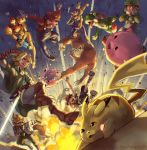 1girl 6+boys absurdres baseball_cap black_eyes body_armor boots brown_footwear captain_falcon commentary creature creatures_(company) donkey_kong donkey_kong_(series) edo-sama english_commentary explosion f-zero falling fox_mccloud furry game_freak gen_1_pokemon green_hat hat highres huge_filesize jigglypuff jumping kirby kirby_(series) link luigi lying mario mario_(series) metroid mother_(game) mother_2 multiple_boys multiple_sources necktie ness nintendo on_stomach overalls pikachu pokemon pokemon_(creature) red_hat red_neckwear samus_aran star_fox super_mario_bros. super_smash_bros. tears the_legend_of_zelda the_legend_of_zelda:_ocarina_of_time yoshi