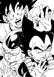 3boys :d armor black_eyes black_hair close-up commentary_request dragon_ball dragon_ball_super_broly dragonball_z embarrassed face fingernails frieza gloves highres lee_(dragon_garou) looking_at_viewer looking_away male_focus monochrome multiple_boys nervous ok_sign open_mouth short_hair simple_background single_glove smile son_gokuu spiky_hair sweatdrop upper_body vegeta white_background white_gloves