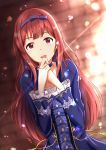1girl :d blue_dress blurry blurry_background bow choker dress eyebrows_visible_through_hair hair_bow highres idolmaster idolmaster_million_live! long_hair long_sleeves looking_at_viewer open_mouth print_sleeves purple_bow red_eyes redhead shiny shiny_hair smile so_korokoro solo sunlight tanaka_kotoha upper_body very_long_hair