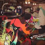 6+boys bar bar_stool barrel beanie beer_bottle black_skin blow_bottom board_game chess commentary_request earrings fighting fin_bottom fuka_bottom glasses hat highres inoue_seita jewelry kilt kuze_(splatoon) long_hair male_focus multiple_boys octarian official_art orange_eyes orange_hair paul_(splatoon) red_skin redhead ryuu-chang sawaberu_taichi shark splatoon splatoon_(series) splatoon_2 stool taka_(splatoon) tangle_bottom tentacle_hair white_day