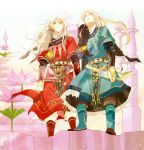 2boys albino androgynous arm_guards beads blonde_hair blue_(saga_frontier) blue_eyes bracelet dagger forehead_jewel fur_trim gem hair_ornament jewelry long_hair looking_at_viewer male_focus multiple_boys necklace red_eyes ribbon rouge_(saga_frontier) saga saga_frontier scarf sheath sheathed siblings skirt souichi twins very_long_hair weapon white_hair