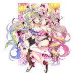 2girls age_of_ishtaria animal_ears animal_print arm_up ass ball blue_bow blue_eyes blush bow breasts bunny_girl bunny_print bunny_tail bunnysuit byulzzimon card cleavage closed_eyes company_name dice_hair_ornament facing_viewer floral_print flower full_body garter_straps grey_hair hair_flower hair_ornament highres holding holding_ball japanese_clothes lantern looking_at_viewer medium_breasts multiple_girls navel navel_cutout official_art one_eye_closed paper_lantern pink_bow playing_card rabbit_ears siblings small_breasts smile standing tail twins twintails violet_eyes white_legwear wide_sleeves