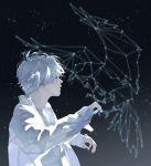 1boy bird bird_on_hand constellation dated jacket night night_sky rido_(ridograph) sky star white_eyes white_hair