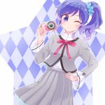 1girl ;) aikatsu! aikatsu!_(series) alternate_costume argyle argyle_background blue_eyes blue_hair blue_scrunchie camera check_(check_book) commentary_request frilled_sleeves frills grey_jacket grey_skirt hair_ornament hair_scrunchie hand_on_hip holding holding_camera jacket kiriya_aoi looking_at_viewer medium_skirt neck_ribbon one_eye_closed outline red_neckwear ribbon school_uniform scrunchie shirt side_ponytail sidelocks skirt smile solo star taking_picture tsukiyo_no_gakuen_school_uniform white_outline white_shirt