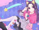 1girl :q aikatsu! aikatsu!_(series) animal_ears argyle argyle_background black_hair blue_background bow braid cat cat_ears check_(check_book) clouds commentary_request dress fake_animal_ears grey_dress heart long_hair long_sleeves looking_at_viewer no_bangs orange_bow paw_pose pink_bow pink_capelet polka_dot_capelet print_dress shirakaba_risa shooting_star slippers solo sparkle thigh-highs tongue tongue_out violet_eyes white_legwear