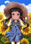 1girl bangs black_hair blue_overalls blue_sky child clouds commentary_request cowboy_shot day double_v eyebrows_visible_through_hair field flower flower_field forehead hat hat_ribbon itakurakou1993 long_hair looking_at_viewer low_twintails original outdoors overall_skirt ribbon shirt short_sleeves sky smile solo standing straw_hat striped striped_shirt summer sunflower twintails v violet_eyes wind wind_lift