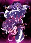 2girls ahoge android_21 android_21_(evil) black_footwear black_nails black_sclera bracelet dragon_ball dragon_ball_fighterz dragonball_z dual_persona fangs gradient gradient_background hair_between_eyes highres jewelry lightning long_hair majin_android_21 monster_girl multiple_girls nail_polish open_mouth parted_lips pink_skin pointy_ears puffy_pants purple_skin red_eyes smile tail tasaka_shinnosuke white_hair white_legwear