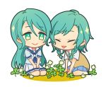 2girls :> aqua_hair bang_dream! blue_neckwear blue_shirt blue_skirt chibi closed_eyes clover clover_(flower) commentary_request flower four-leaf_clover green_eyes hanasakigawa_school_uniform hands_on_lap haneoka_school_uniform hikawa_hina hikawa_sayo long_hair miniskirt multiple_girls neckerchief on_ground open_mouth outdoors pleated_skirt school_uniform seiza serafuku shirt short_hair short_sleeves siblings side_braids simple_background sisters sitting skirt smile sweater_vest tozaki_(r_sailing) triangle_mouth twins wariza white_background white_skirt