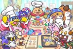 2girls 6+boys adeleine bob_cut cat chef_hat chef_kawasaki chuchu_(kirby) commentary_request cookie cupcake food gift gooey hamster hat icing invincible_candy king_dedede kirby kirby_(series) macaron mask meta_knight multiple_boys multiple_girls nago nintendo official_art pastry_bag peeking ribbon rick_(kirby) taranza tray waddle_dee white_day wrapped_candy